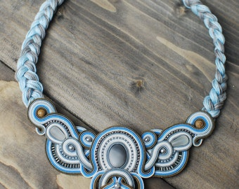 Soutache necklace, Grey blue white necklace, Bono necklace, Beaded necklace, Embroidered necklace, Soutache jewelry, FREE SHIPPING