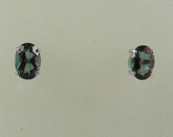 Mystic Topaz 1.48ct Oval Stud Earring 14k White Gold Post and Push Backs