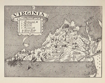 50's Vintage VIRGINIA Picture Map Pictorial State Map Print Black and White Gallery Wall Housewarming Gift for Wedding Birthday Traveler