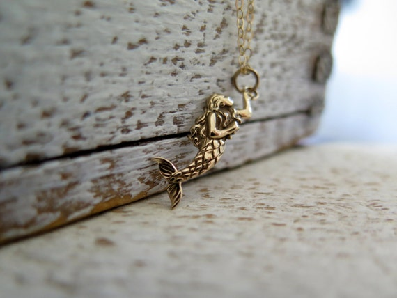 Mermaid Necklace, Gold Necklace, Gold Mermaid Necklace, Mermaid Gift, Beach Necklace, Mermaid Jewelry , Daughter Gift, Beach Necklace