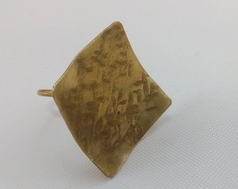 brass ring, silver ring, square ring