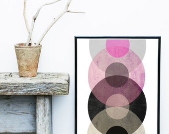 Circles Wall Art, Scandinavian Modern , Abstract Art, Mid Century Modern,  Circle Print,  Giclee print, Wall Art, Gallery Wall Prints