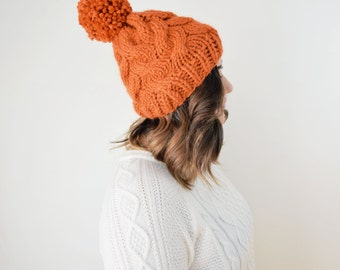 Knit Hat Chunky PomPom Knitted Cap - Cable Knitted Orange Slouchy Beanie Cabled Tuque