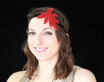 SALE! Red Beaded Leaf Headband - Velvet Flapper Headband - Beaded Headband - Valentine's Day/Festival Wear/Girls' Night Out/Mardi Gras