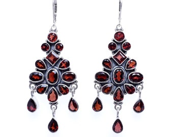 Garnet earrings, Chandelier earrings, Silver Garnet earrings, Garnet Chandelier earrings, Handmade  earrings, LAST PAIR!!!