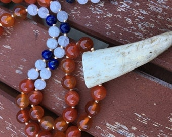 Bone Tusk Necklace,  Boho Necklace