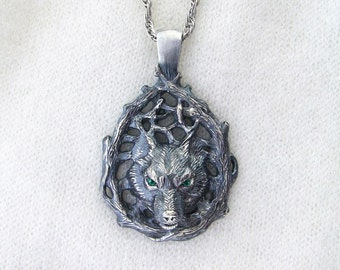 Wolf Pendant.Silver Wolf.Celtic Wolf.Wolf Totem.Wolf Necklace.Viking Pendant.Norse Pendant.Scandinavian Pendant.Wolf Charm.Nordic Pendant
