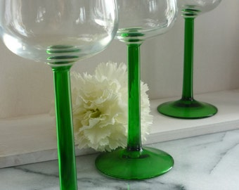 Two Cristal D'argues vintage sherry glasses with green stem, wedding gift, housewarming gift, for him, for her, anniversary