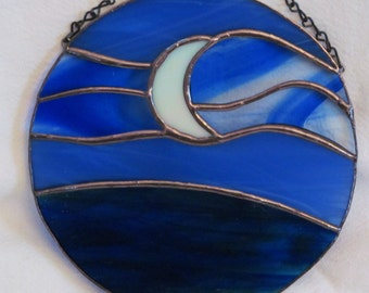 SAVE30 coupon code for SALE    crescent moon, night sky, blue glass, moon, round, HappyGlass06, gift