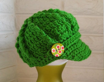 Girls newsboy hat, girls pageboy, girls green hat with brim, crochet green newsboy, accessories, fall, winter and spring fashion