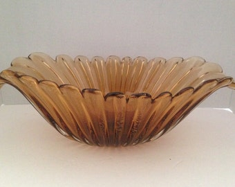 Stunning Large Murano Centerpiece Console Bowl Amber with Gold Flecks 1950s Italy