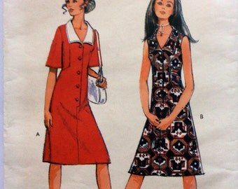 1970s shirtfront shift dress with wide collar Style 3221 vintage sewing pattern Bust 34 Retro 70s style sleeve option, boho, Mad Men preppy