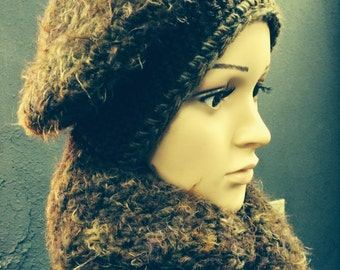 Chocolate and Cinnamon swirl beret, silky, warm, beautiful, classy, unique, winter hat and scarf