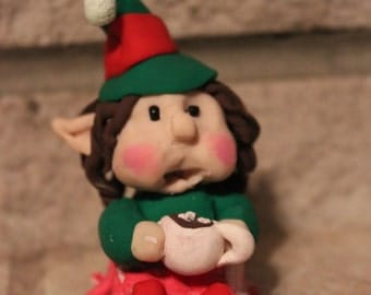 Elf Girl with Cocoa ~ Polymer Clay ~ Gnome & Fairy Gardens