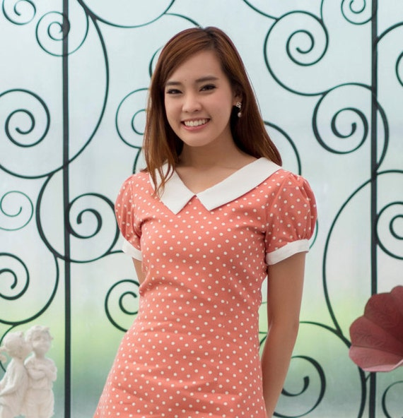 Polka Dot with Peter Pan Orange White Collar Vintage inspired Dress by Nalinfa | Prom Bridesmaid Christmas Mod Tea Party Casual Brid Dress