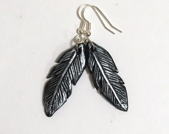 Feather Earrings, Black and Silver, Hypoallergenic, Surgical Steel, Polymer Clay Earrings