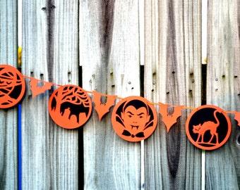Halloween Garland, Halloween Banner, Fall Banner, Halloween, Halloween Decor, Halloween Decoration, Orange and Black Banner, Scary Garland