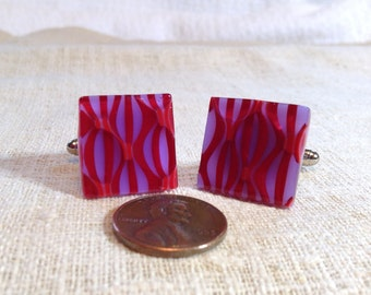 Red/Neo-Lavender Fused Glass Cuff Link Set