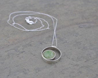 Green and Ivory Glass. Simple Sterling Silver Double Circle Necklace