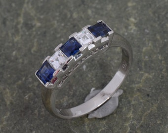 Diamond and Sapphire Alternating Ring in White Gold