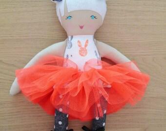 "Matilda - Handmade rag doll, 38cm (15""), fabric doll, plush doll, gifts for girls."