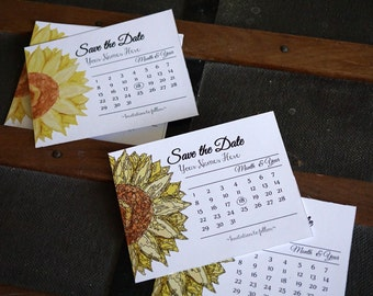 Printable Calendar Sunflower Save the Date, Rustic Save the Date, Card, Postcard, PDF
