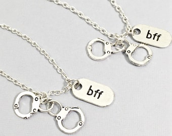 Best Friend Necklace - Set of Two, Best Friend Handcuff Necklace, Bff Charm, Friendship Necklace Set, Best Friend Jewelry, handcuff jewelry