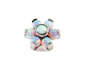 "The ""Angel Blossom"" Opal Flower 1.2mm - labret post included"