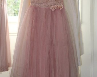 Vintage 1950s Pink Tulle Prom Dress Lace Millinery Rose's Party Shabby Chic Ashwell