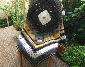 Crochet afghan, crochet blanket, granny square, gray,  black, white and yellow blanket ,modern crochet throw