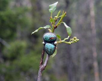 Two Stone Turquoise Ring, Size 6, Balance Ring
