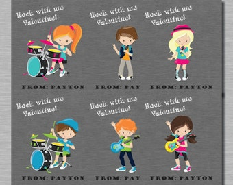 Music Rock Stars Valentines for Valentine's Day, Printable, Customized Name, Music Rockers with Guitar, Drum, Singer