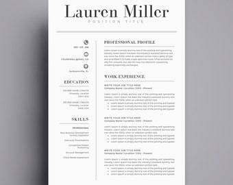 resume template cv template for word cover letter two page resume teacher resume professional resume instant download
