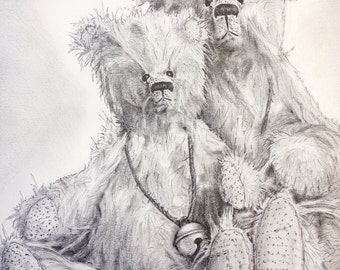 Original Black And White Pencil Drawing, Teddy Bear Pencil Drawing, Teddy Bear Drawing, Animal Drawing, Bear Drawing