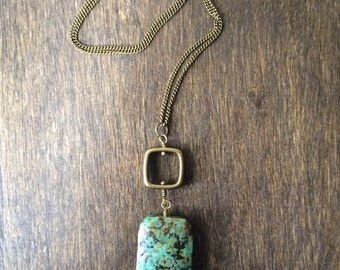 African Turquoise & Antique Brass Multi Charm Necklace, Bohemian Jewelry, Bohemian Necklace, Rustic Jewelry, Gemstone Pendant
