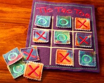 Tic Tac Toe, kids game, travel games, road trip games, felt games, kids gift, stocking stuffer, toys & games, tye dye, kids birthday gift