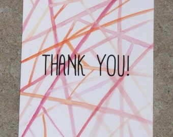 Pink and orange geometric watercolour print thank you card