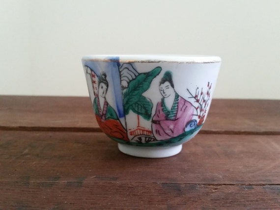 Vintage Teacup / Sake Cup ft. Geisha + Cherry Blossoms | Hand Painted + Signed Japanese Art