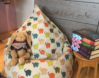 Kids bean bag| Linen bean bag cover| Beanbag chair| Elephant bean bag| Beanbag cover| Natural fabrics bean bag| Birthday gift| For kids room