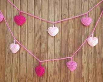 Crochet garland heart Knitted bunting wedding pink hearts Valentines Day Decor Party decoration Wall hanging Nursery decor Photo Prop Hearts