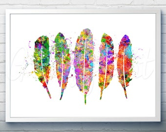 Feathers Art Watercolor Art Print  - Watercolor Painting - Feather Watercolor Art Painting  - Home Decor - House Warming Gift [4]
