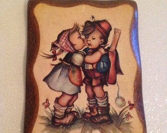 Large Vintage M.I. Hummel Wood Plaque