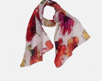 Anemone Flower print scarf, soft Flower Print Scarf, Floral scarf, light scarf, Summer scarf