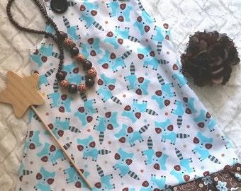 Girls Dress, Childrens Clothes, Fox Dress, Kids Clothes