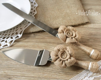 Burlap Flowers Wedding Cake Cutting Set, Rustic Wedding Cake Knives, Burlap and Twine Cake Cutters, Wedding Cake Serving & Cutting Set