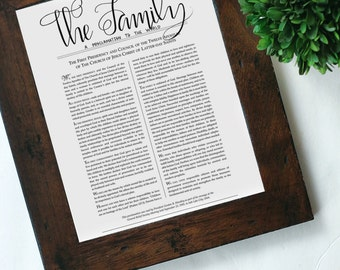 The Family Proclamation {Printable Art Print} Hand Lettered