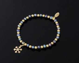 SARULO Black Freshwater Pearls 24k Gold Plated 925 Sterling Silver Bracelet  Gift Set