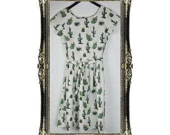 Vintage Inspired Retro Cactus Print Tea Dress
