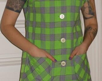 1960s Mod Jumper Mini Dress Green Tartan GDR