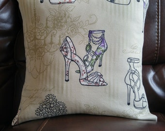 Shoe theme pillow cover / taupe with purple details / Handmade pillow printed with shoes/gift for shoe lover